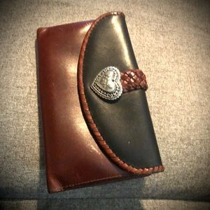 BRIGHTON brown and black leather wallet